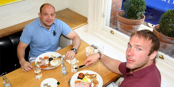 Rory and Stephen 'try' Conor Café Ulster Fry!