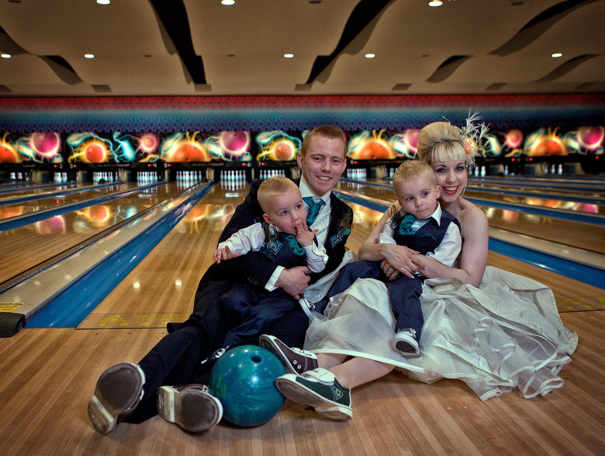 And the bride wore…bowling shoes